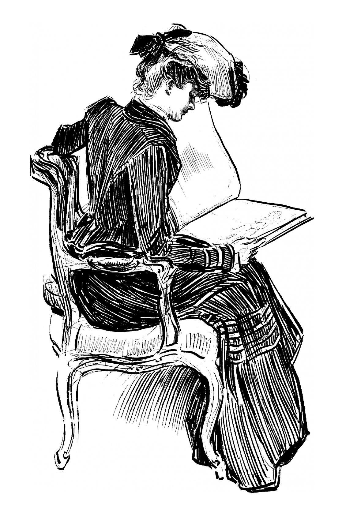 Frank Lloyd Wright The Feng Shui Foodie : gibson girl in chair reading 02 from fengshuifoodie.com size 1117 x 1689 jpeg 377kB