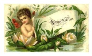 New Year's Cherub in Lily Pond