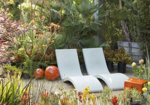 Comfy Concrete Chaises.  Photo courtesy of Flora Grubb Gardens.