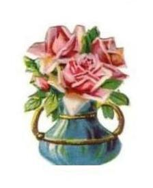 Pink Roses in Blue and Gold Vase
