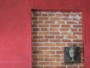 Red Brick Wall and small Samovar